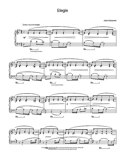 Download Jules Massenet 'Elegie' Digital Sheet Music Notes & Chords and start playing in minutes