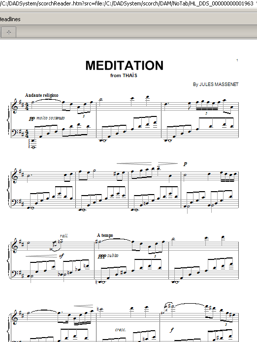 Jules Massenet Meditation sheet music preview music notes and score for Piano including 3 page(s)