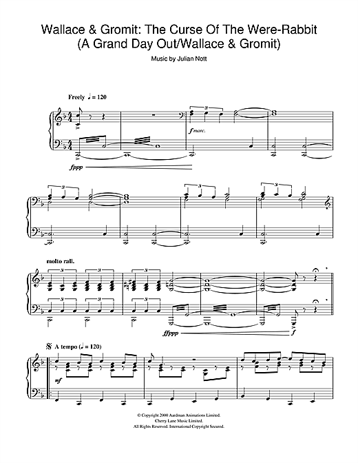 Download Julian Nott 'Wallace & Gromit: The Curse Of The Were-Rabbit (A Grand Day Out/Wallace & Gromit)' Digital Sheet Music Notes & Chords and start playing in minutes