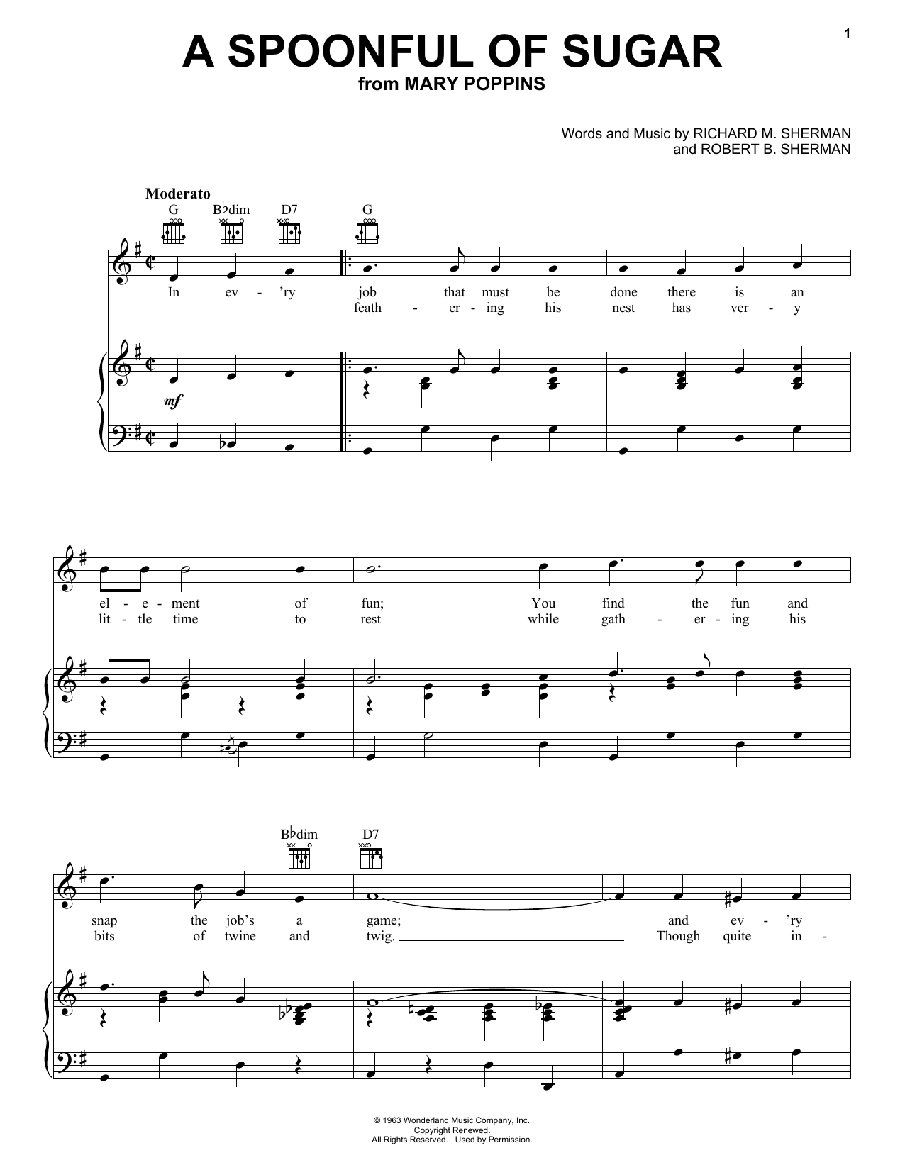 Julie Andrews A Spoonful Of Sugar sheet music preview music notes and score for Piano, Vocal & Guitar (Right-Hand Melody) including 3 page(s)