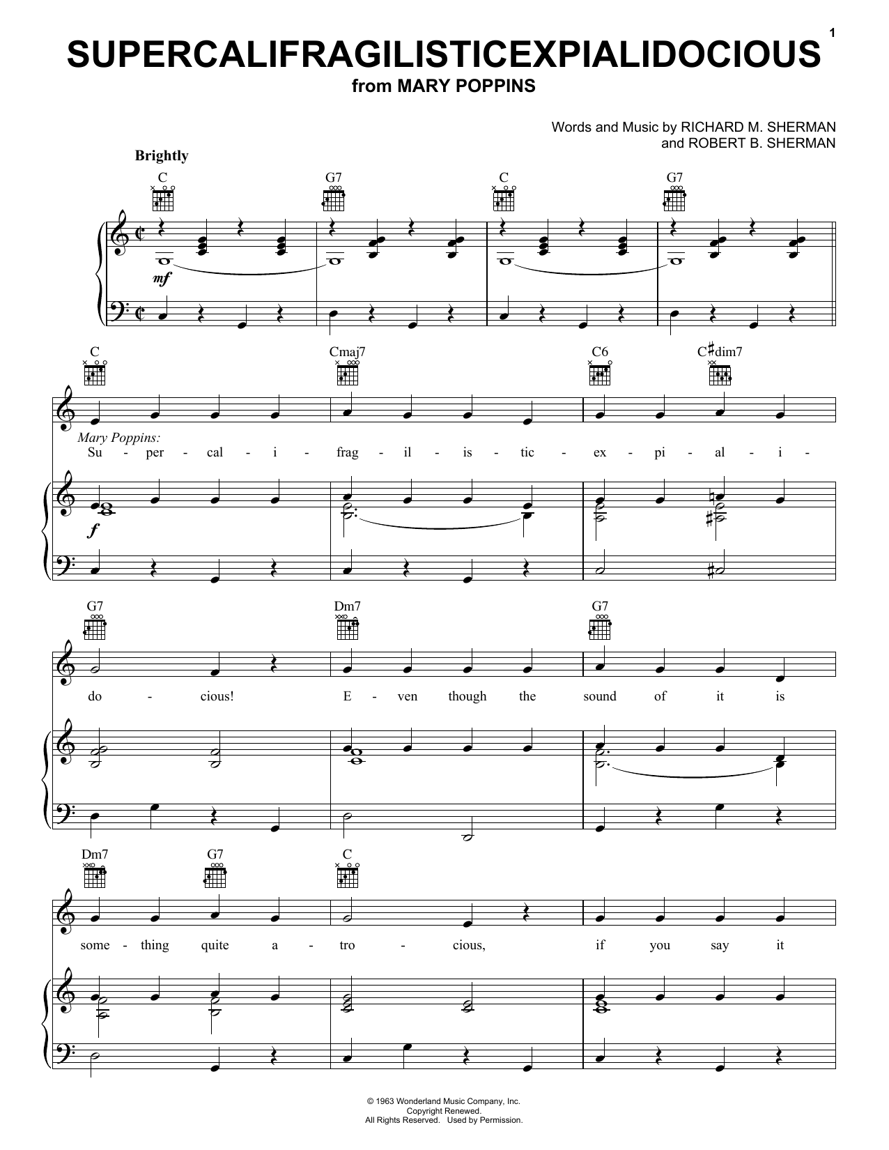 Julie Andrews Supercalifragilisticexpialidocious (from Mary Poppins) sheet music preview music notes and score for Piano & Vocal including 7 page(s)