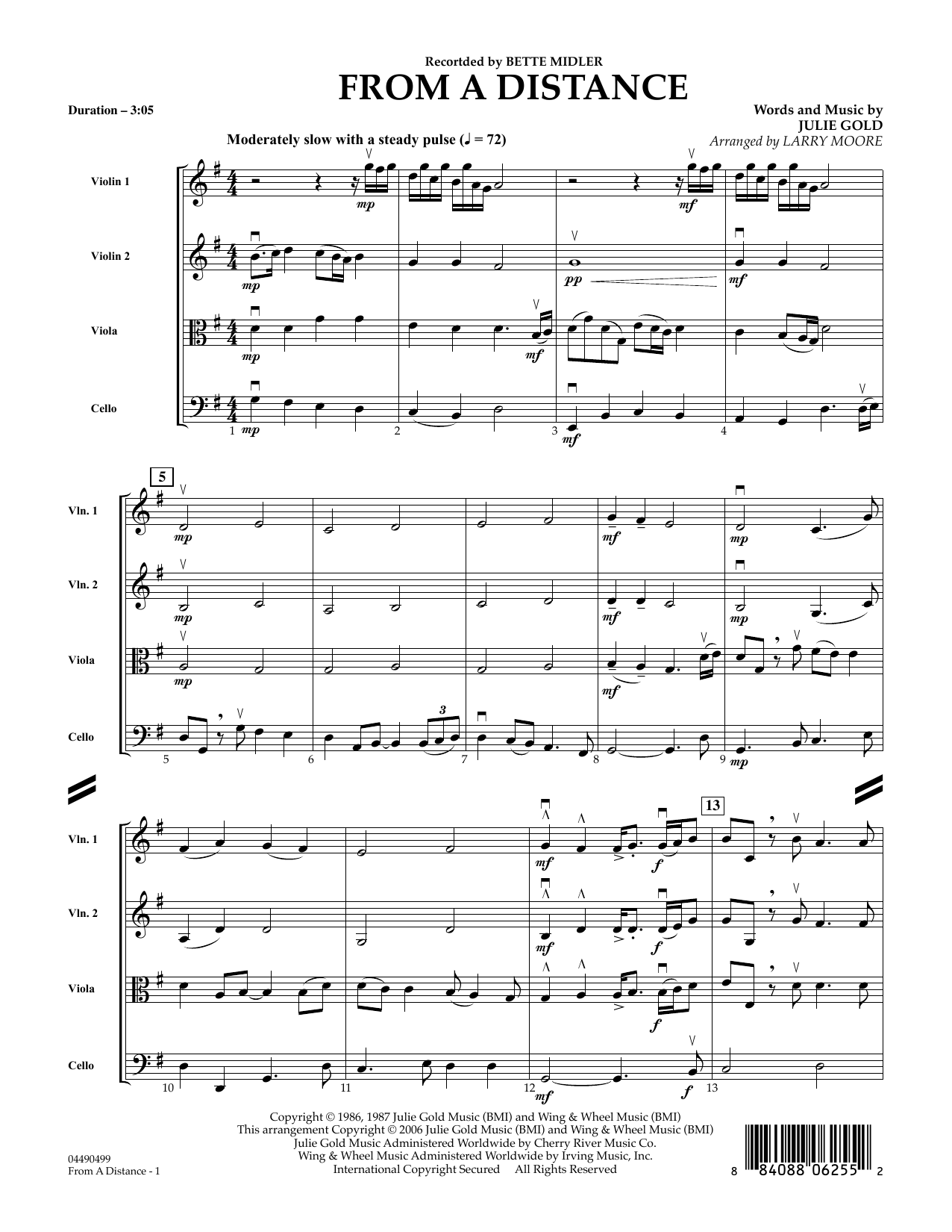 Download Julie Gold 'From a Distance (arr. Larry Moore) - Full Score' Digital Sheet Music Notes & Chords and start playing in minutes