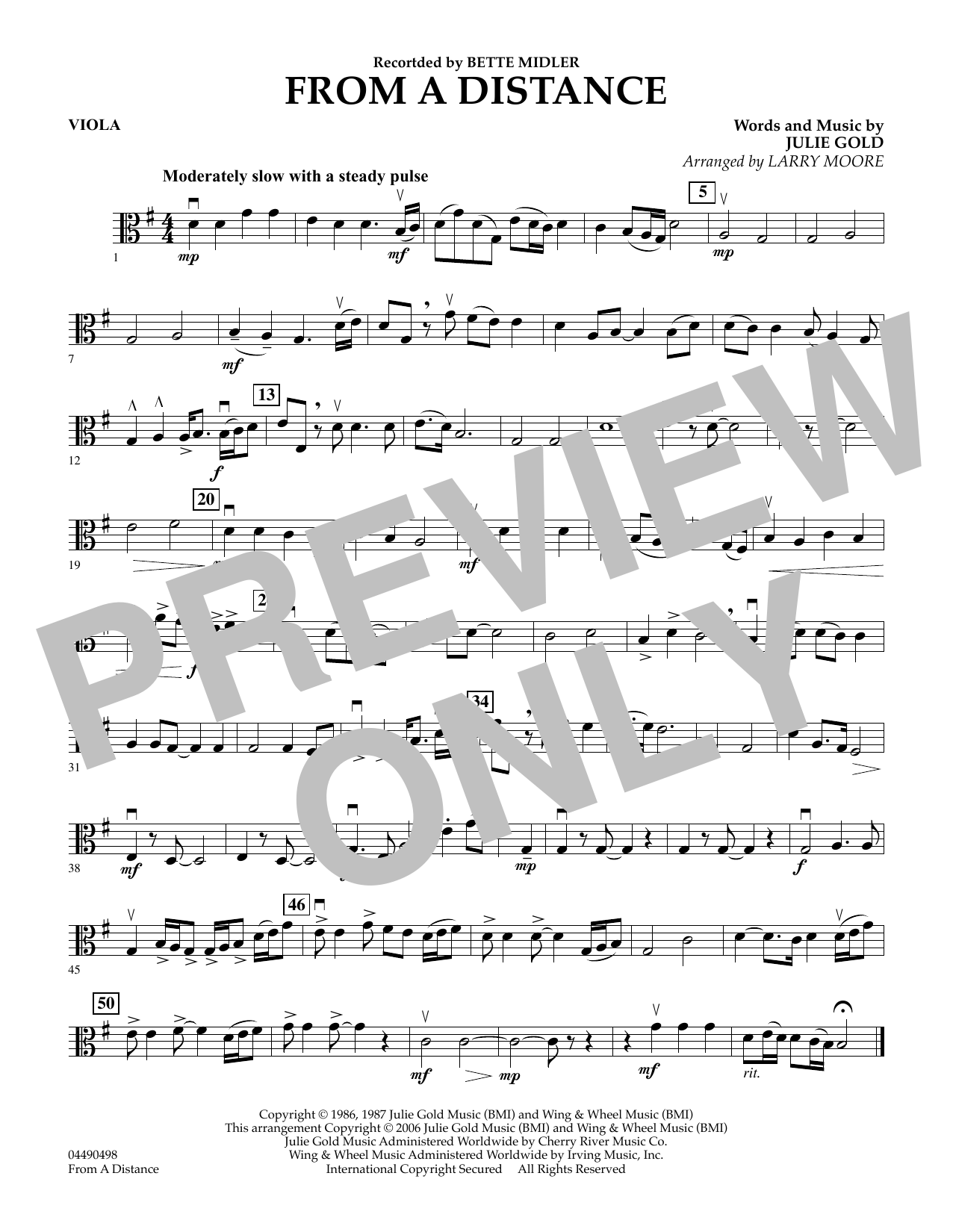 Download Julie Gold 'From a Distance (arr. Larry Moore) - Viola' Digital Sheet Music Notes & Chords and start playing in minutes