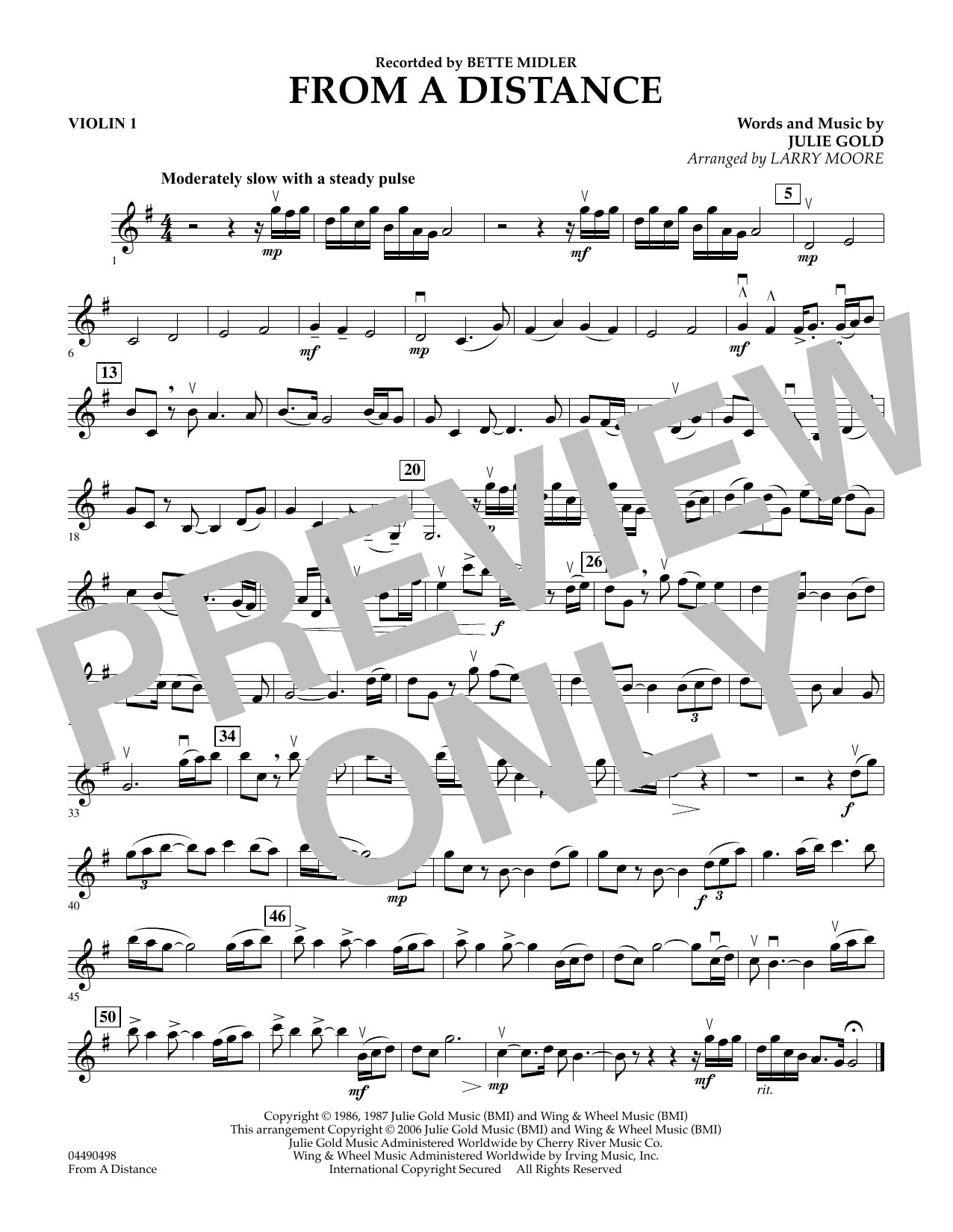 Download Julie Gold 'From a Distance (arr. Larry Moore) - Violin 1' Digital Sheet Music Notes & Chords and start playing in minutes