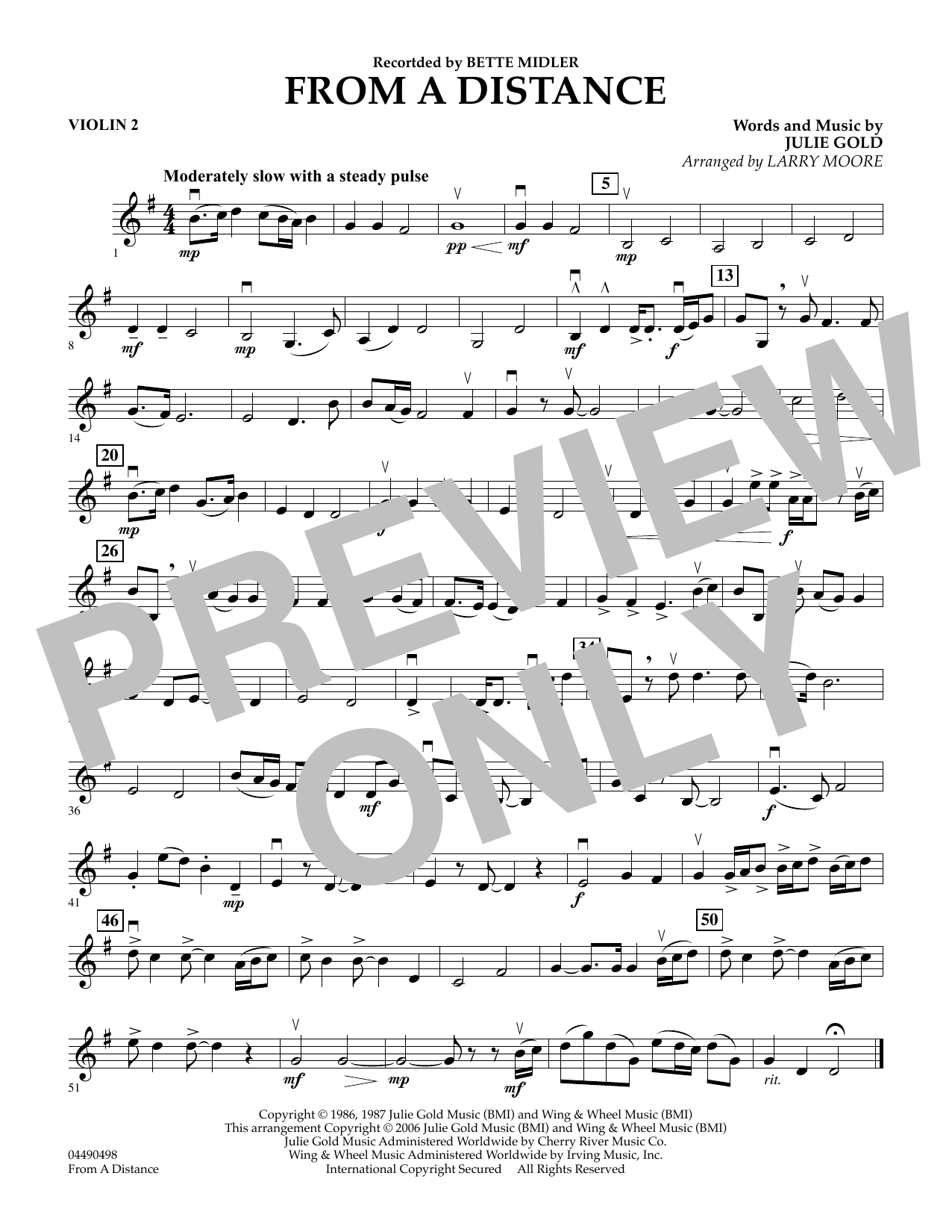 Download Julie Gold 'From a Distance (arr. Larry Moore) - Violin 2' Digital Sheet Music Notes & Chords and start playing in minutes