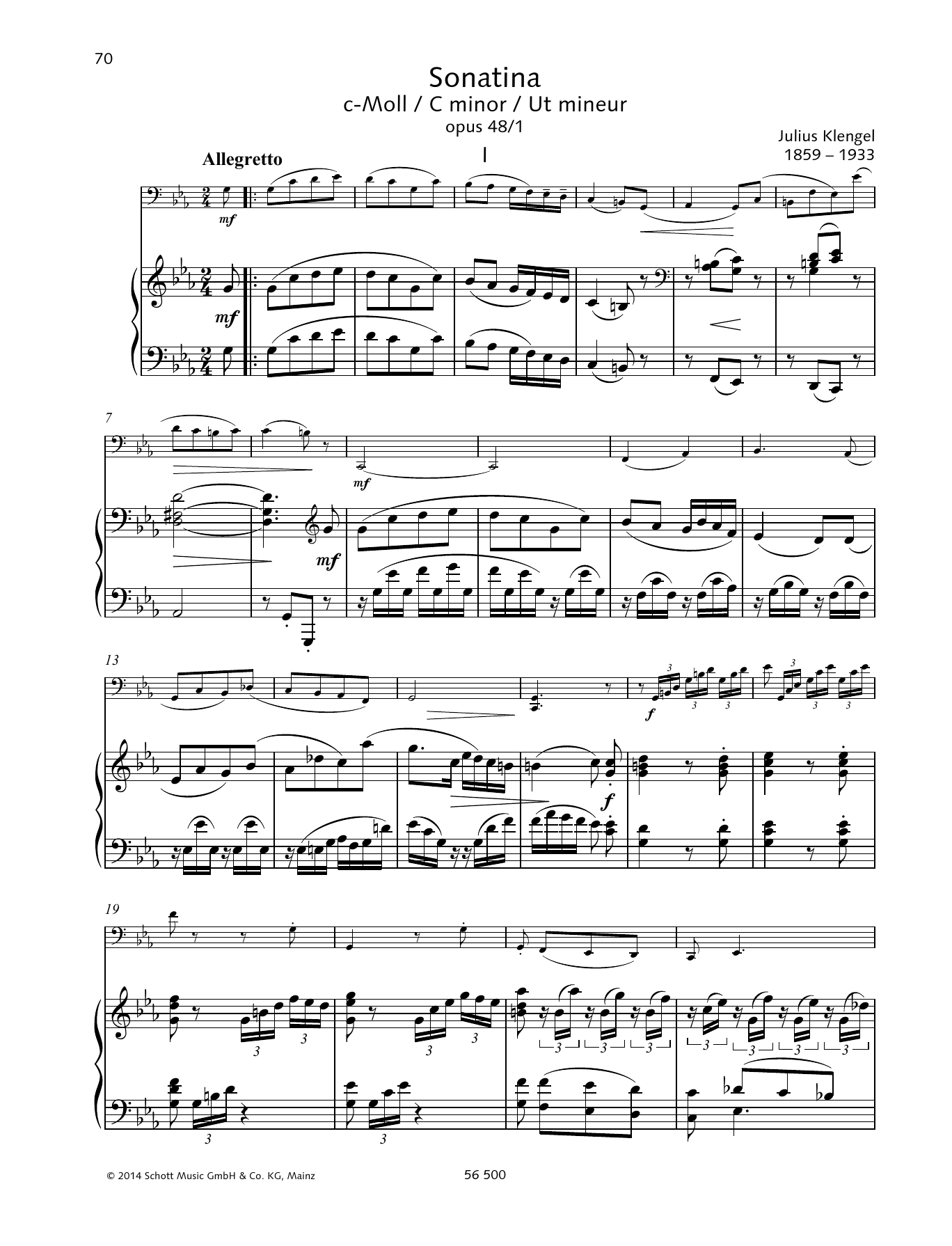 Julius Klengel Sonatina C minor sheet music preview music notes and score for String Solo including 19 page(s)