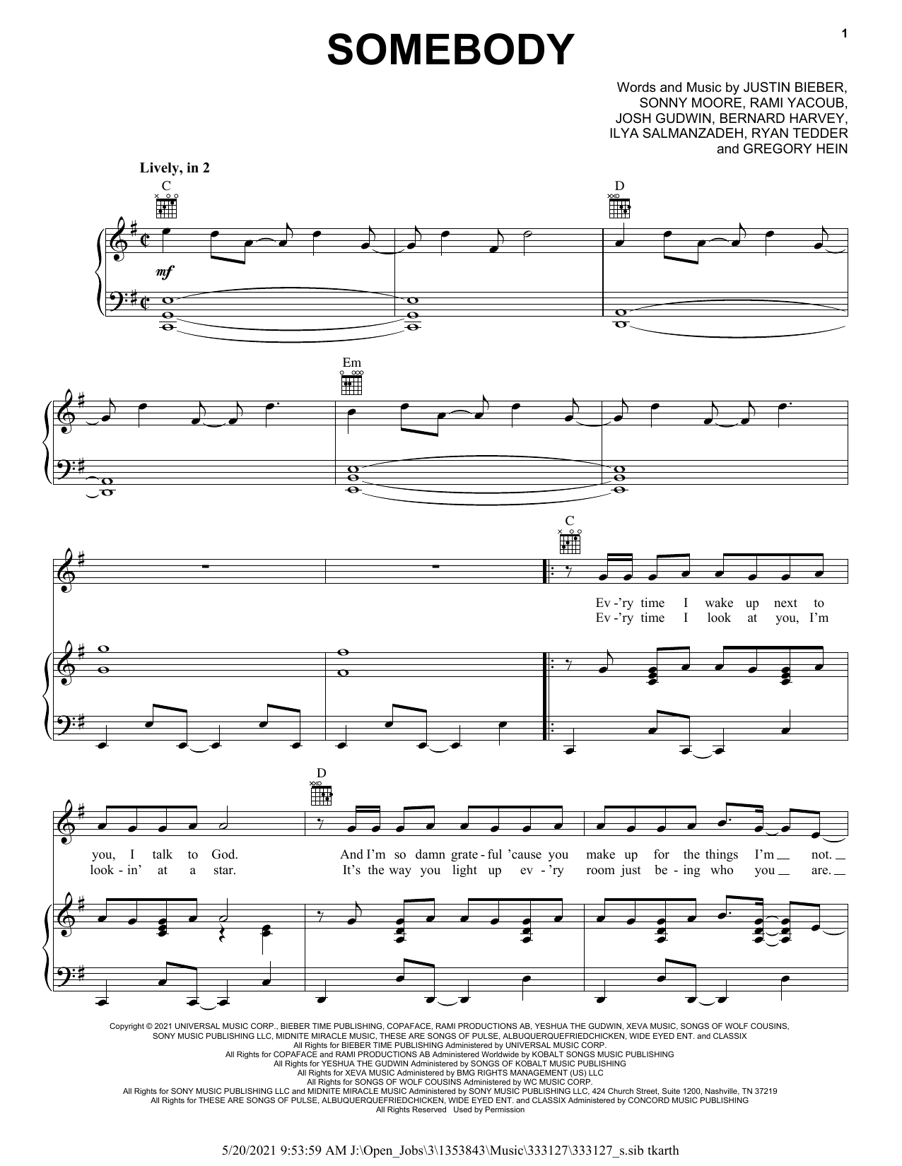 Justin Bieber Somebody sheet music preview music notes and score for Piano, Vocal & Guitar (Right-Hand Melody) including 5 page(s)