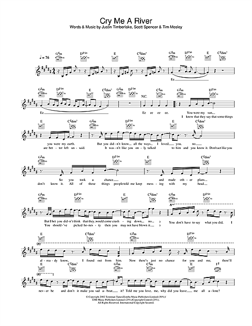 Justin Timberlake Cry Me A River sheet music notes and chords