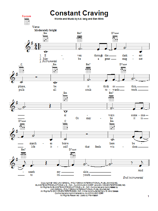 k.d. lang Constant Craving sheet music notes and chords