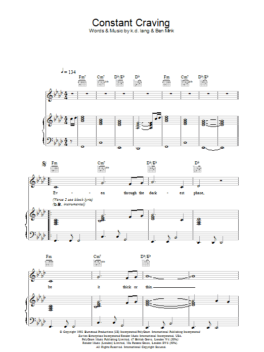 k.d. lang Constant Craving sheet music preview music notes and score for Lyrics & Chords including 2 page(s)