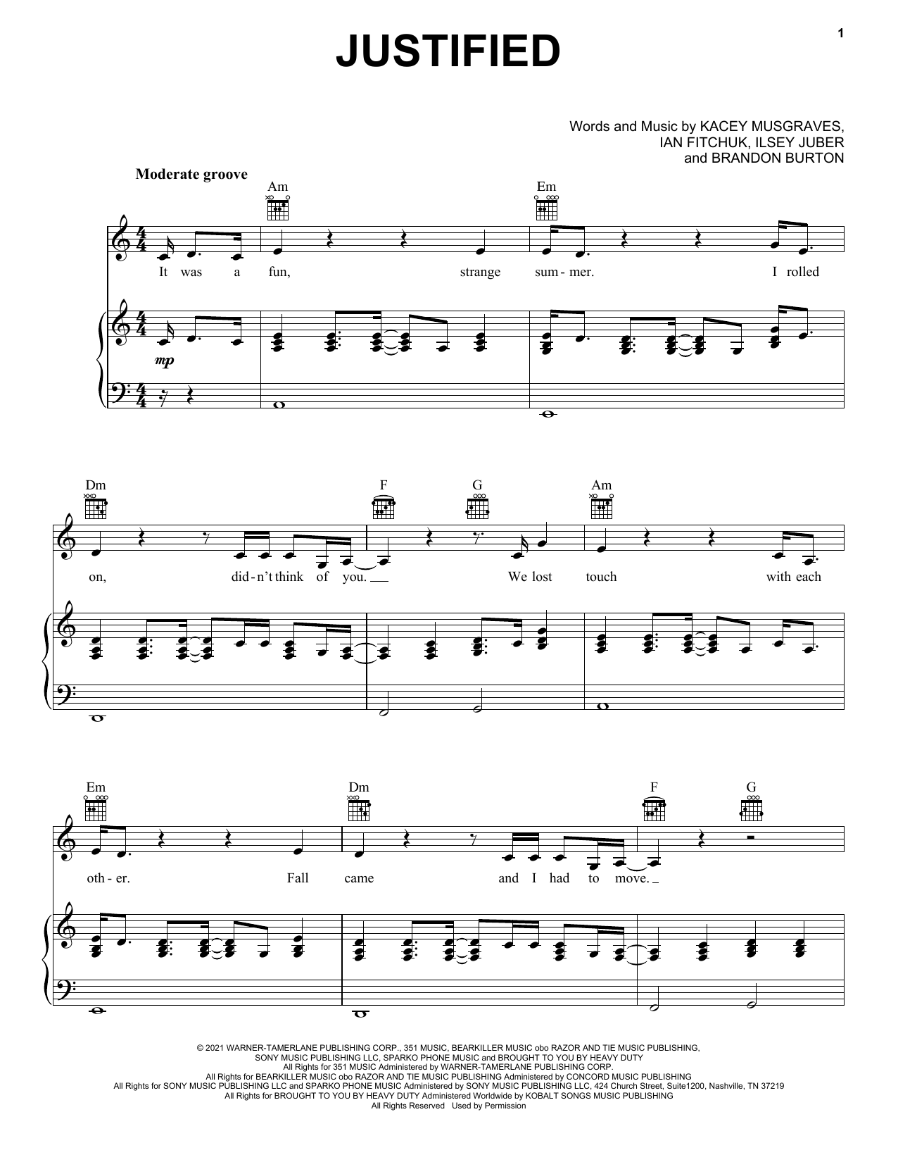 Kacey Musgraves Justified sheet music preview music notes and score for Piano, Vocal & Guitar (Right-Hand Melody) including 7 page(s)
