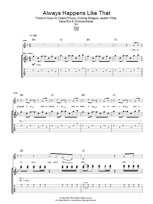 Kaiser Chiefs Always Happens Like That sheet music preview music notes and score for Guitar Tab including 4 page(s)