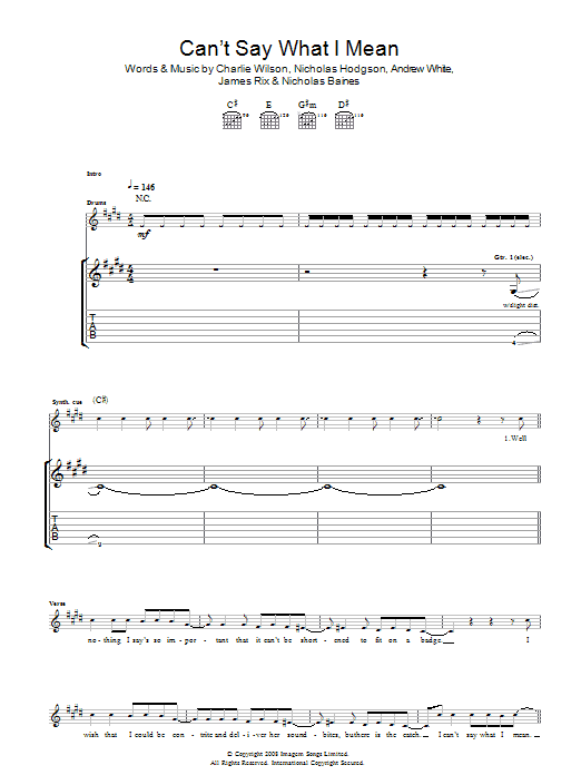 Kaiser Chiefs Can't Say What I Mean sheet music preview music notes and score for Guitar Tab including 5 page(s)