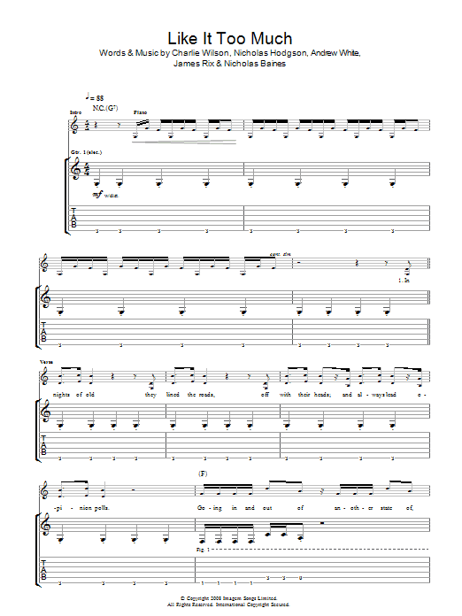 Kaiser Chiefs Like It Too Much sheet music preview music notes and score for Guitar Tab including 4 page(s)