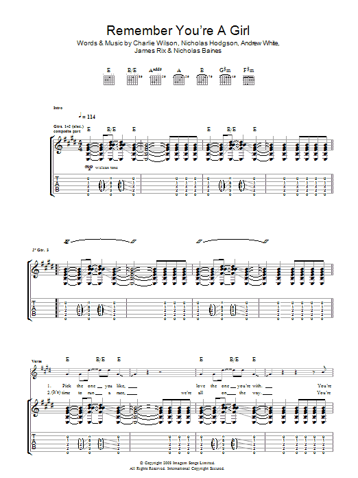 Kaiser Chiefs Remember You're A Girl sheet music preview music notes and score for Guitar Tab including 3 page(s)