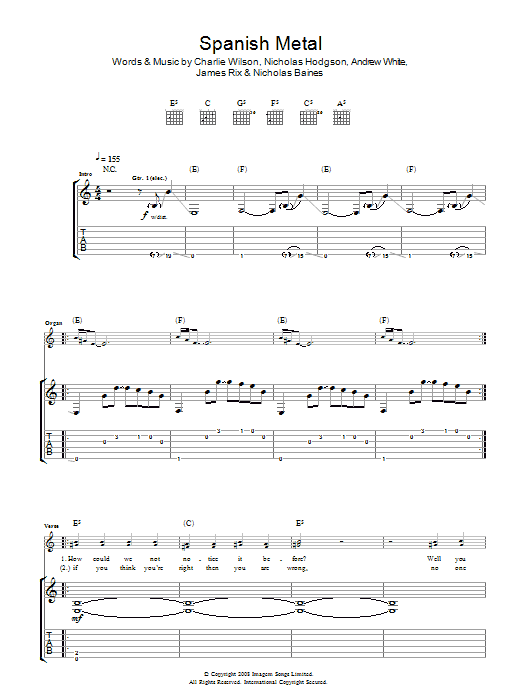 Kaiser Chiefs Spanish Metal sheet music preview music notes and score for Guitar Tab including 4 page(s)