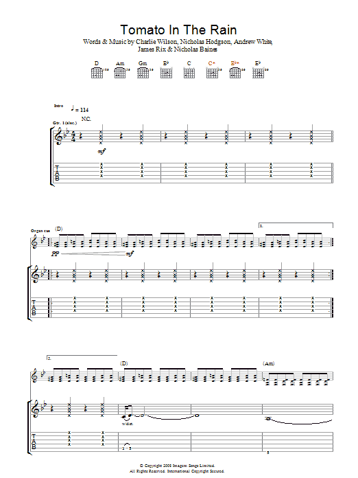 Kaiser Chiefs Tomato In The Rain sheet music preview music notes and score for Guitar Tab including 5 page(s)
