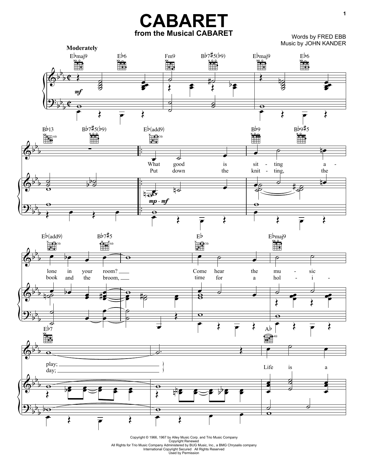 Kander & Ebb Cabaret sheet music preview music notes and score for Piano including 4 page(s)