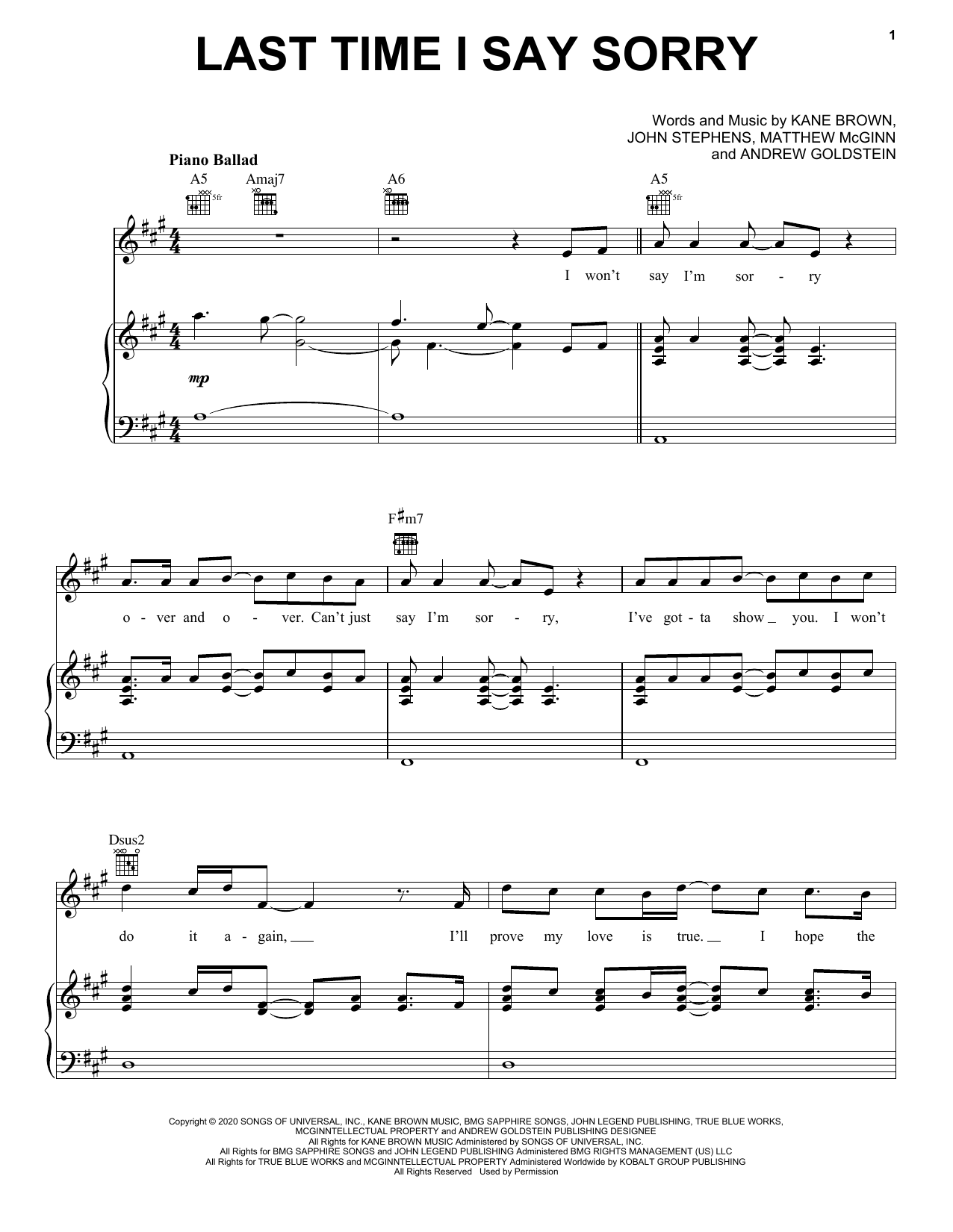 Kane Brown & John Legend Last Time I Say Sorry sheet music notes and chords
