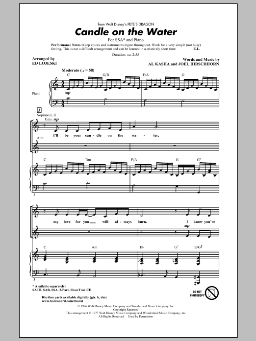 Kasha & Hirschhorn Candle On The Water (arr. Ed Lojeski) sheet music preview music notes and score for 2-Part Choir including 8 page(s)