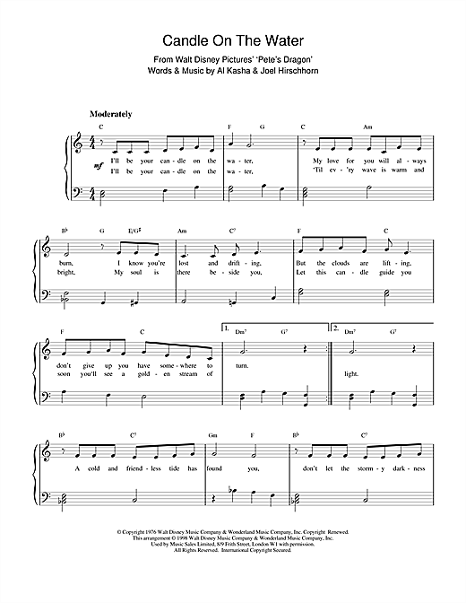 Download Kasha & Hirschhorn 'Candle On The Water (from Walt Disney's Pete's Dragon)' Digital Sheet Music Notes & Chords and start playing in minutes