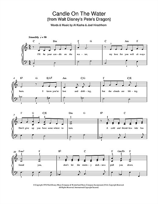 Kasha & Hirschhorn Candle On The Water (from Walt Disney's Pete's Dragon) sheet music preview music notes and score for Ukulele including 3 page(s)