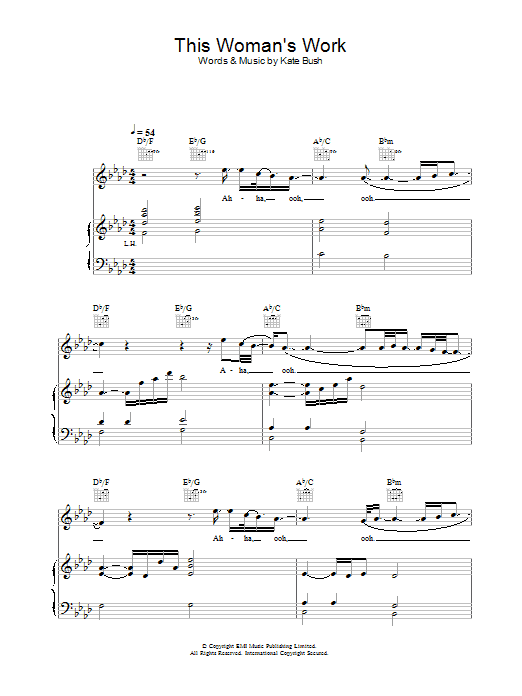 Kate Bush This Woman's Work (from She's Having A Baby) sheet music preview music notes and score for Piano, Vocal & Guitar including 7 page(s)