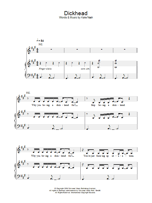 Kate Nash Dickhead sheet music preview music notes and score for Piano, Vocal & Guitar including 5 page(s)