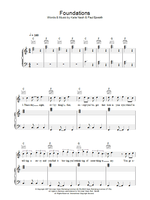Kate Nash Foundations sheet music preview music notes and score for Keyboard including 2 page(s)