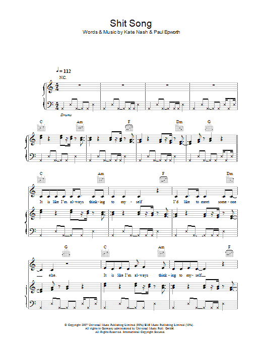 Kate Nash Shit Song sheet music preview music notes and score for Piano, Vocal & Guitar including 6 page(s)