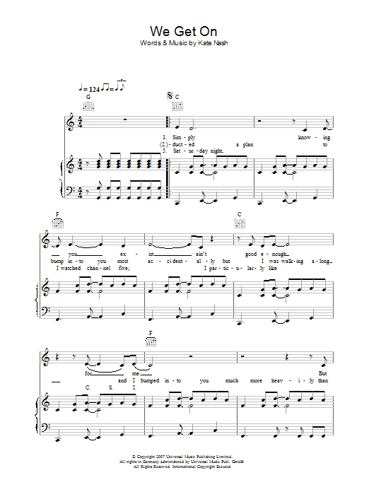 Kate Nash We Get On sheet music preview music notes and score for Piano, Vocal & Guitar including 7 page(s)