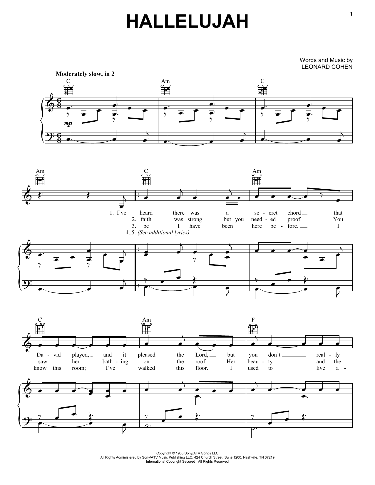 Kate Voegele Hallelujah sheet music preview music notes and score for Piano, Vocal & Guitar (Right-Hand Melody) including 4 page(s)