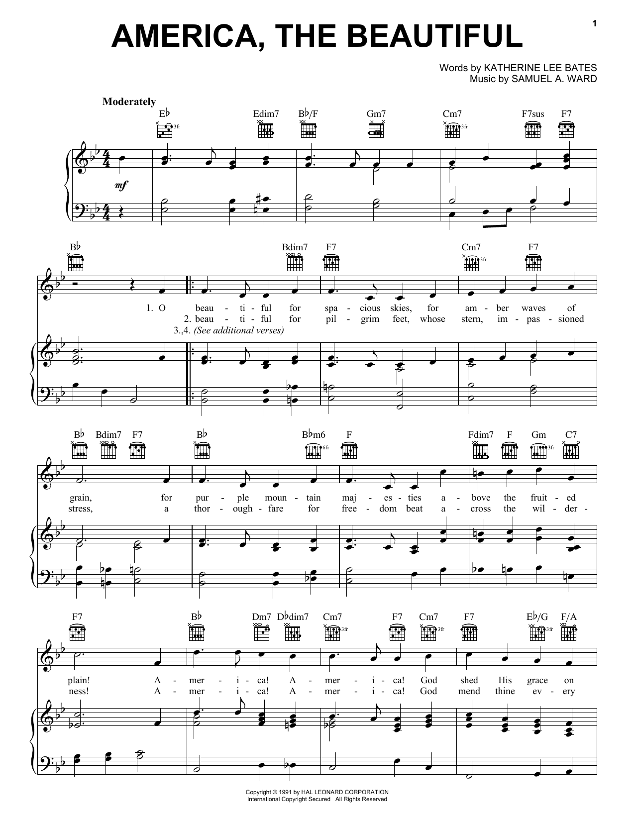 Katharine Lee Bates America, The Beautiful sheet music preview music notes and score for Easy Piano including 2 page(s)