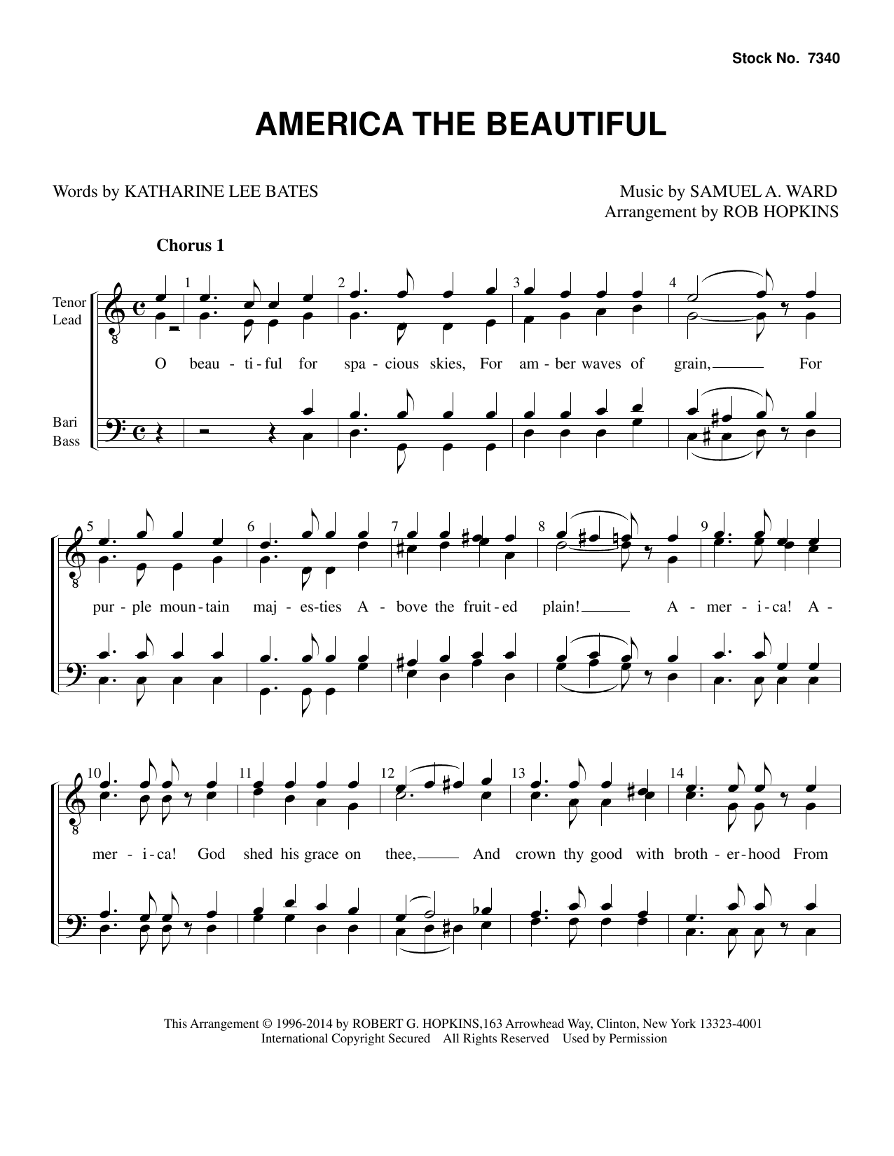 Katharine Lee Bates America, the Beautiful (arr. Rob Hopkins) sheet music preview music notes and score for TTBB Choir including 3 page(s)