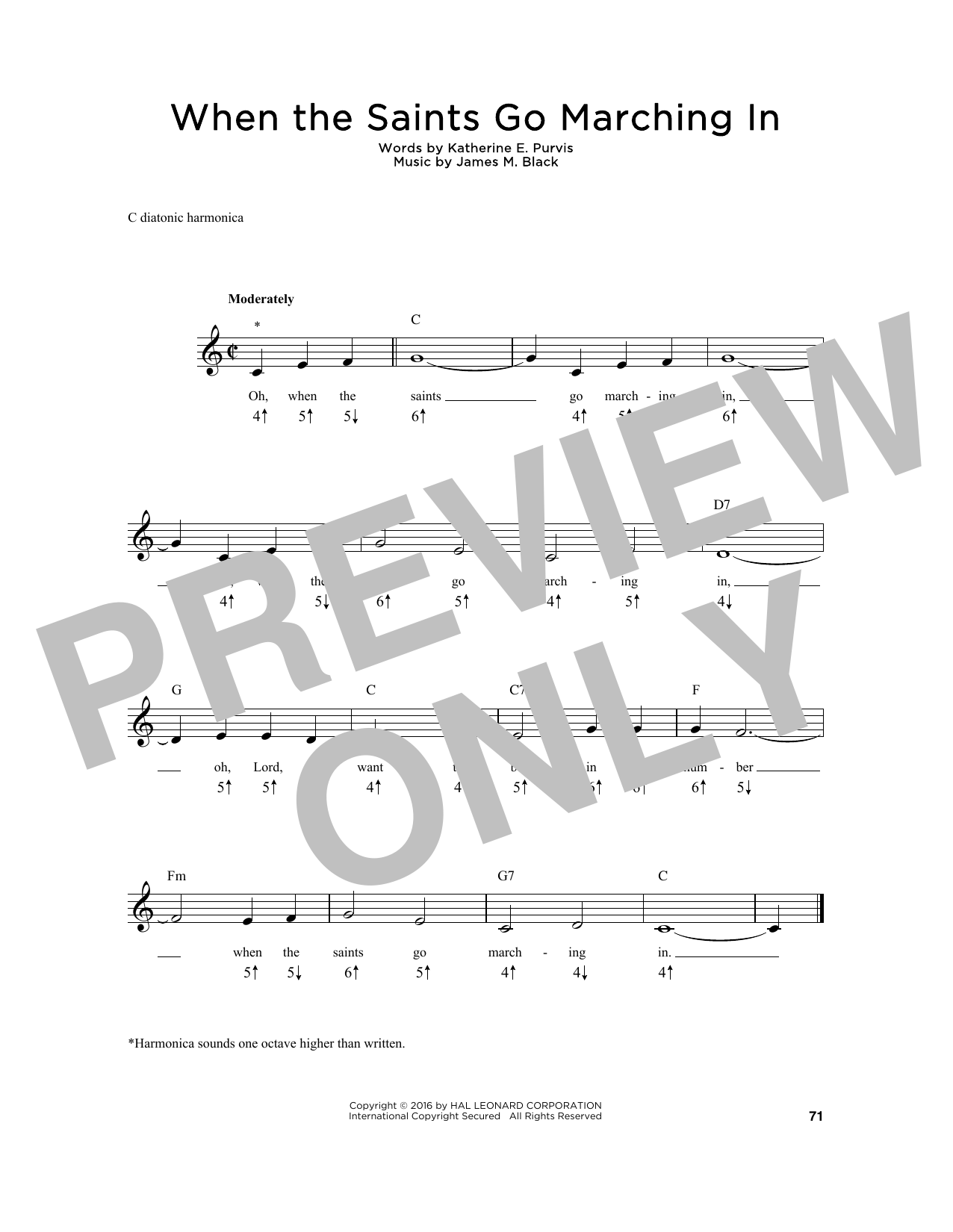 Katherine E. Purvis When The Saints Go Marching In sheet music preview music notes and score for Super Easy Piano including 1 page(s)
