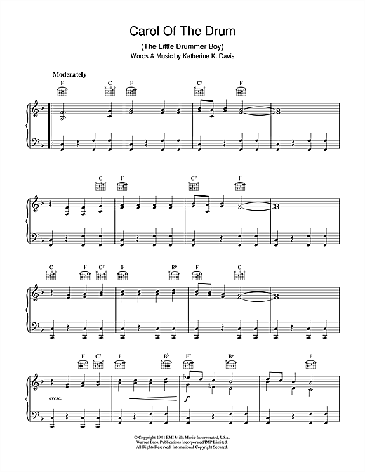 Download Katherine K. Davis 'Carol Of The Drum (The Little Drummer Boy)' Digital Sheet Music Notes & Chords and start playing in minutes