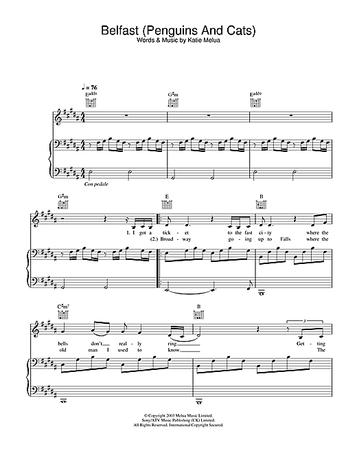 Download Katie Melua 'Belfast (Penguins And Cats)' Digital Sheet Music Notes & Chords and start playing in minutes