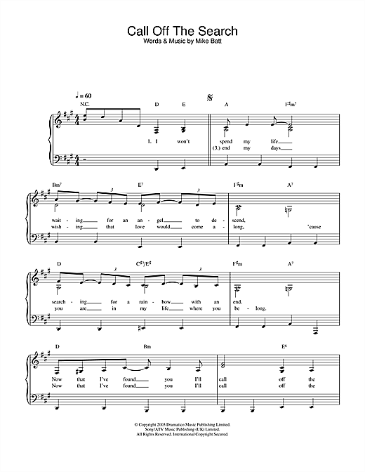 Download Katie Melua 'Call Off The Search' Digital Sheet Music Notes & Chords and start playing in minutes