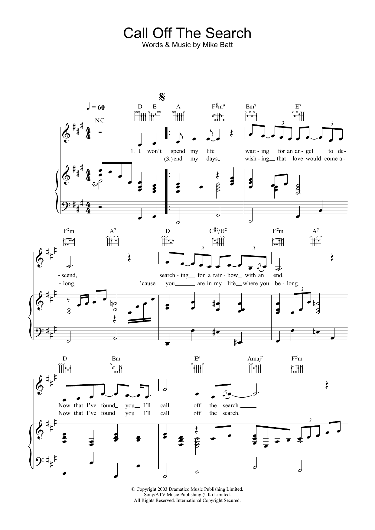 Katie Melua Call Off The Search sheet music preview music notes and score for Piano including 3 page(s)