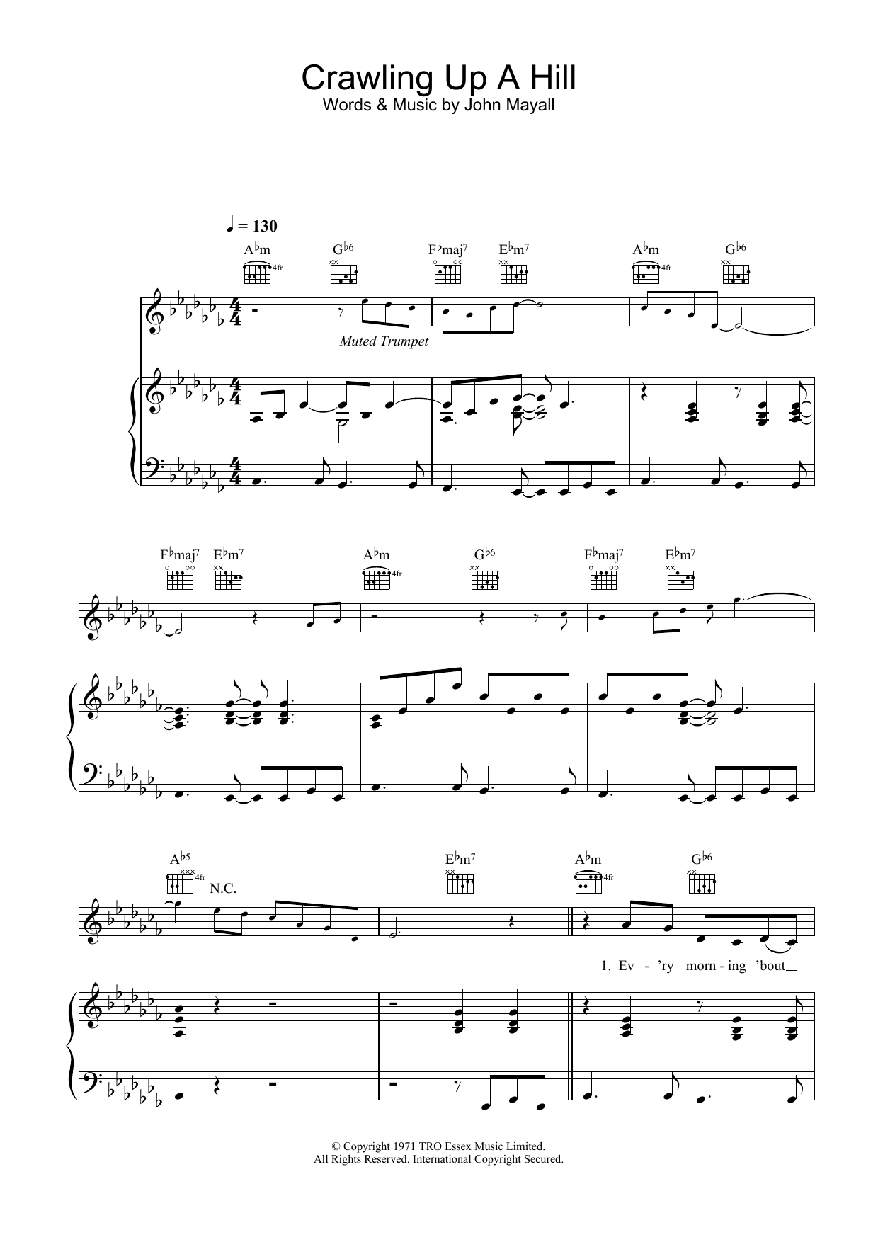 Katie Melua Crawling Up A Hill sheet music preview music notes and score for Piano, Vocal & Guitar including 7 page(s)