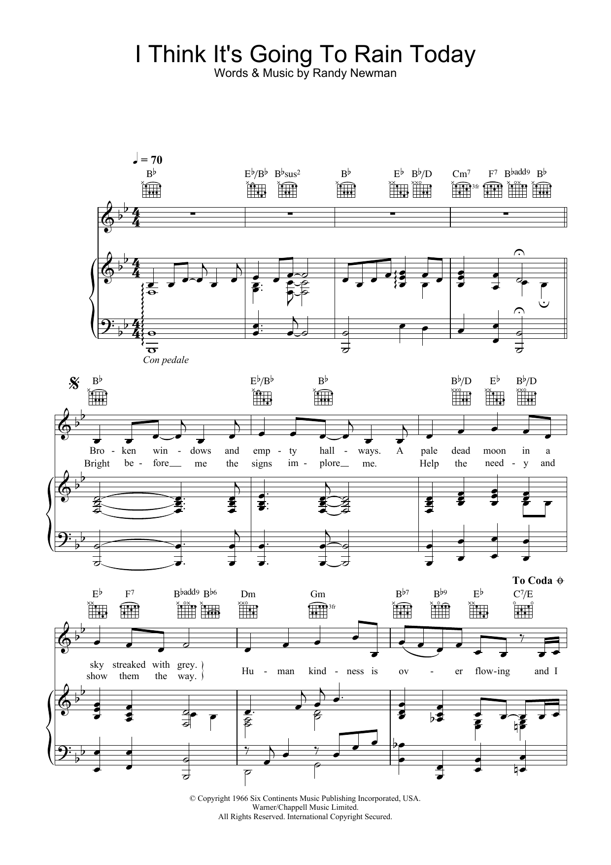Katie Melua I Think It's Going To Rain Today sheet music preview music notes and score for Piano, Vocal & Guitar including 3 page(s)