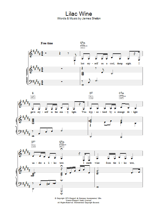 Katie Melua Lilac Wine sheet music preview music notes and score for Piano including 3 page(s)