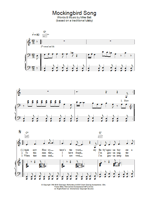 Katie Melua Mockingbird Song sheet music preview music notes and score for Piano, Vocal & Guitar including 4 page(s)