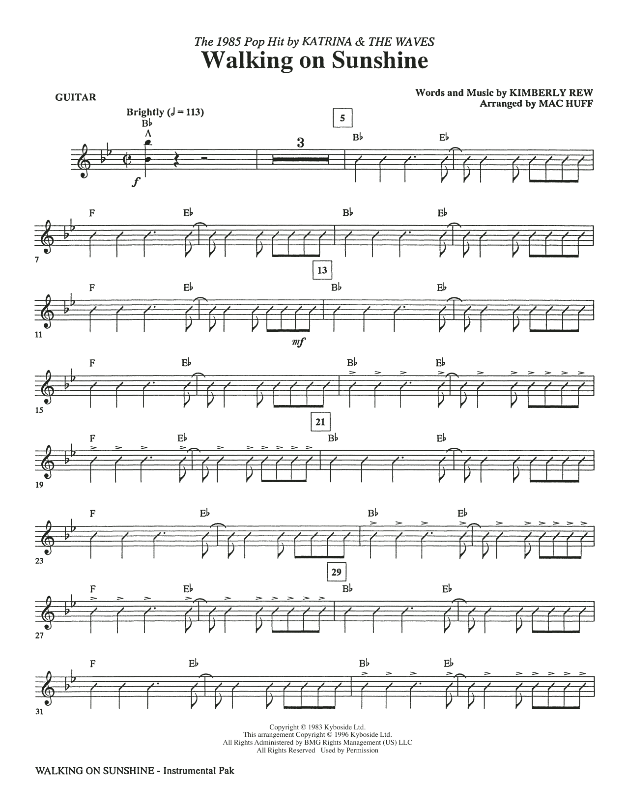 Katrina & The Waves Walking on Sunshine (arr. Mac Huff) - Guitar sheet music preview music notes and score for Choir Instrumental Pak including 4 page(s)