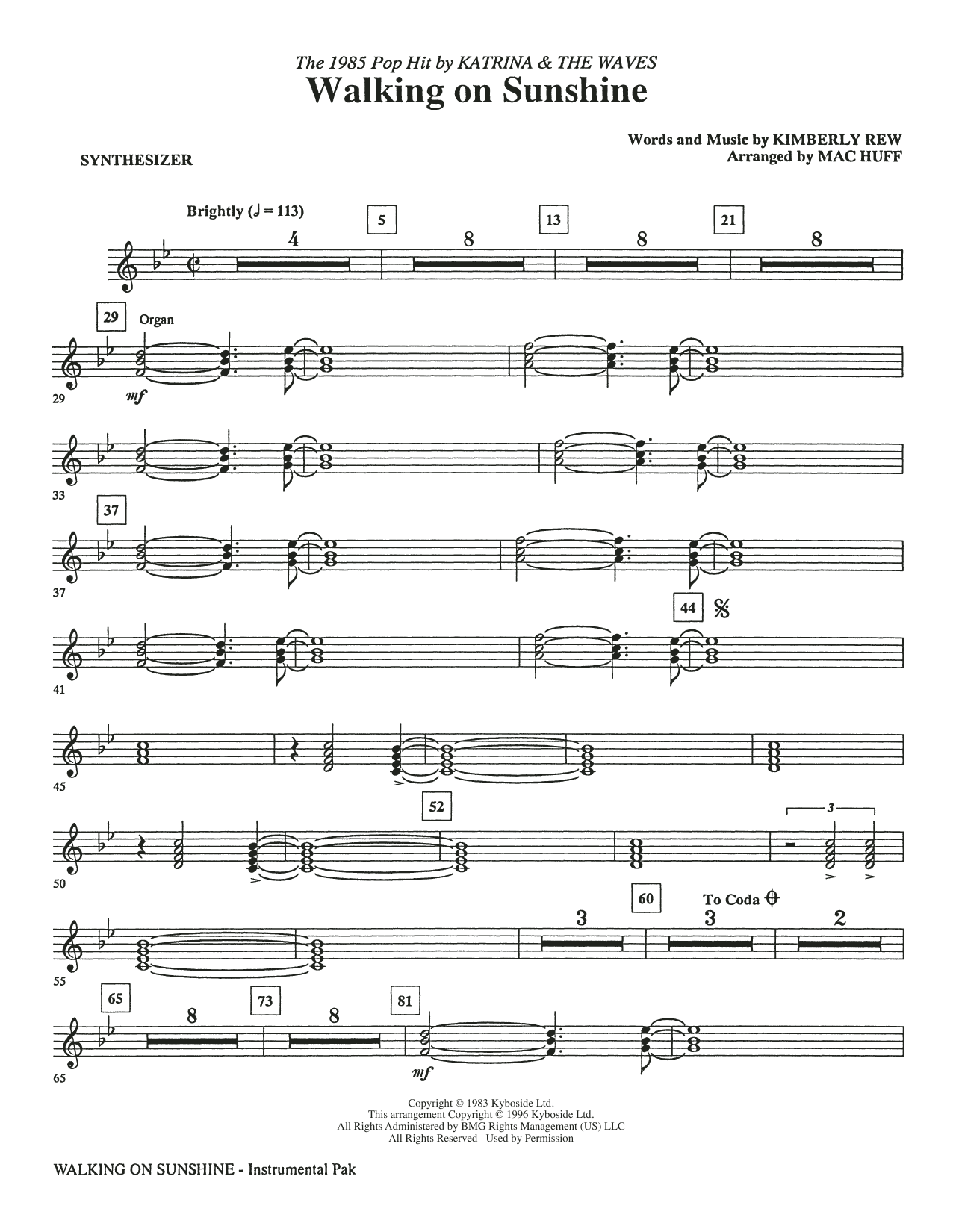 Katrina & The Waves Walking on Sunshine (arr. Mac Huff) - Synthesizer sheet music preview music notes and score for Choir Instrumental Pak including 2 page(s)