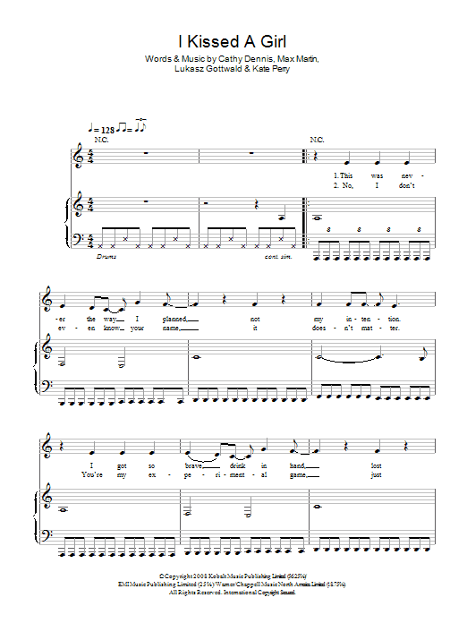 Katy Perry I Kissed A Girl sheet music preview music notes and score for Piano, Vocal & Guitar (Right-Hand Melody) including 4 page(s)