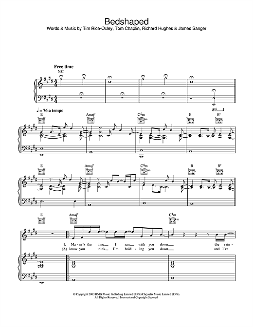 Keane Bedshaped sheet music notes and chords