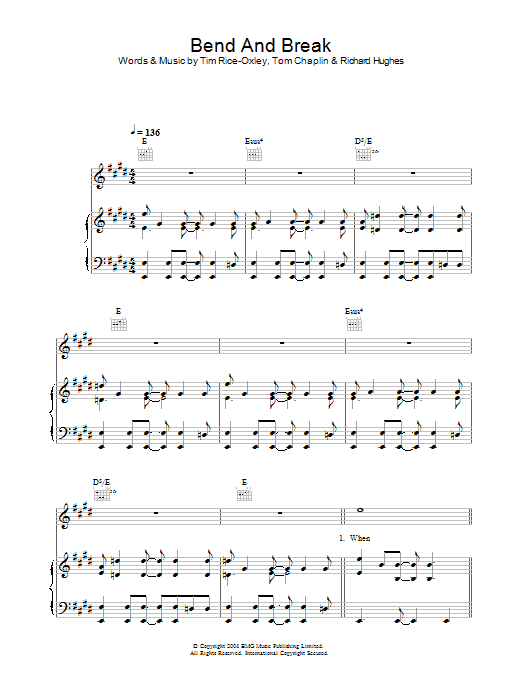 Keane Bend And Break sheet music preview music notes and score for Easy Piano including 4 page(s)