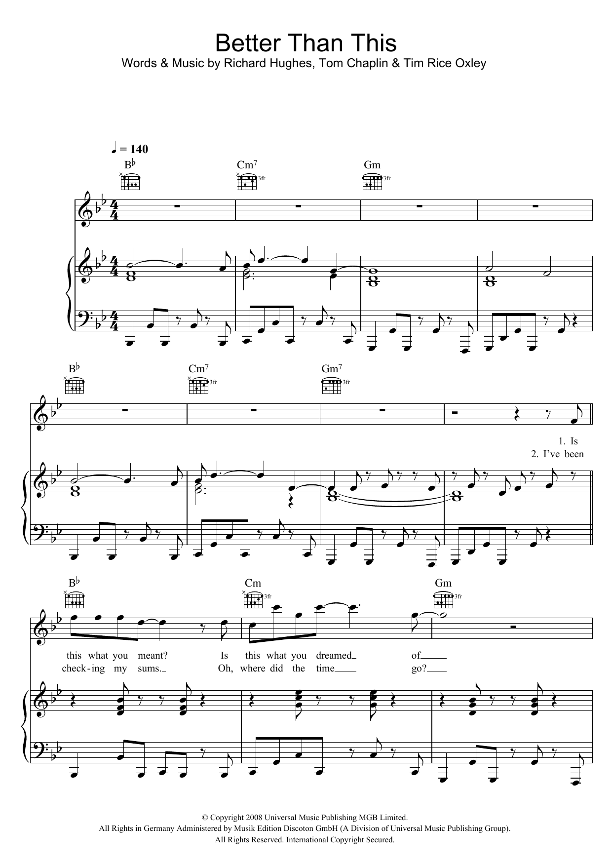 Keane Better Than This sheet music preview music notes and score for Piano, Vocal & Guitar including 7 page(s)