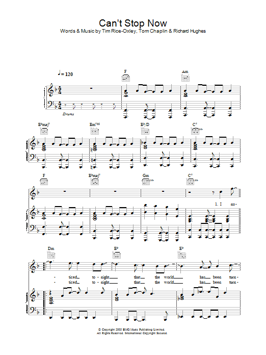 Keane Can't Stop Now sheet music preview music notes and score for Piano, Vocal & Guitar including 5 page(s)